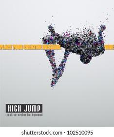 High jump. Creative vector Illustration. Eps 10.
