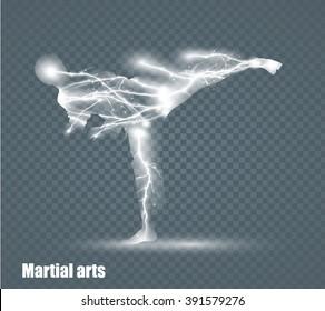 high kick - martial art, flying lightning, vector illustration