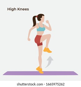 High knees exersice, Exercise workout, Vector illustraion