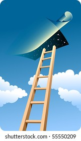 High ladder to sky. Dark blue sky, clouds.