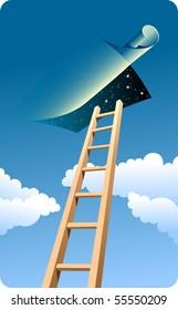 High ladder to sky. Dark blue sky, clouds.