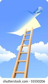 High ladder to sky. Light blue sky, clouds.