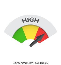 High level risk gauge vector icon. High fuel illustration on white background.