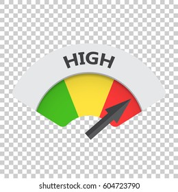 High level risk gauge vector icon. High fuel illustration on isolated background.