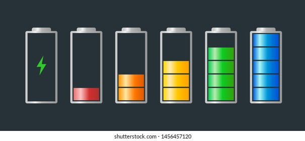 High to low power battery charged energy indicator level set with recharging icon. Empty to full battery indicating red orange yellow blue green cylinder symbols. Vector batteries illustration