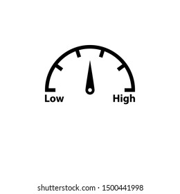High low risk gauge black icon. Clipart image isolated on white background