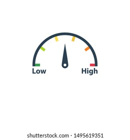 High low risk gauge icon. Clipart image isolated on white background