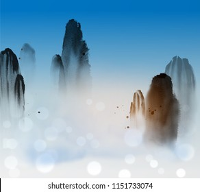 High misty mountains, blue sky and clouds. Traditional oriental ink painting sumi-e, u-sin, go-hua