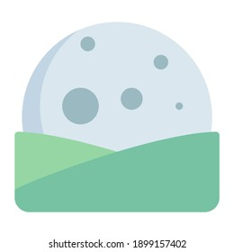 high moonrise and moonset in hill using soft color and flat style