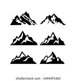High mountain icon logo vector illustration design template.Mountain top black silhouette with snowy peak. Mountain tourism and rock climbing icon set. Vector design element modern style for logotype.
