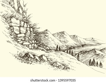 High mountains river landscape, surrounding hills slope and alpine meadows