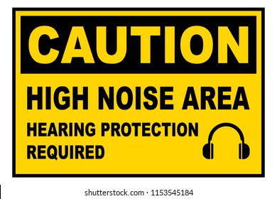 High noise area warning sign, Hearing protection required, vector illustration