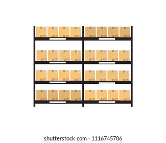 high pile cardboard boxes on warehouse shelves carton delivery packaging logistics inventory on white background isolated eps10 vector illustration