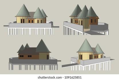 High Pillar House have Con... Vector & Illustration