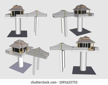 High Pillar House Vector & Illustration
