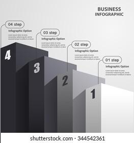 high pillars staircase vector diagram business infographics template