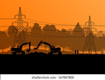 High power voltage electricity lines and engineers with excavator loaders tractors and bulldozers in countryside forest field construction site landscape illustration background vector