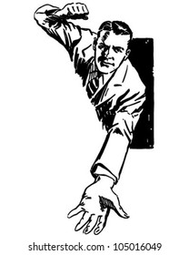 High Pressure Salesman - Retro Clipart Illustration