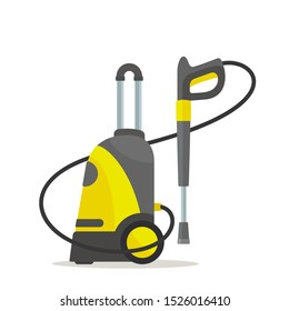 High pressure washer device with spray gun and hose. Home cleaning service, car washing, garden, driveways. Vector illustration, flat style. Isolated on white background.