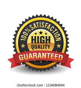 High quality 100% satisfaction guarantee golden badge with red ribbon on white background.