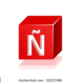 High Quality 3d Red Cube Letter N with a Tilde with Cavalier Perspective on White Background.