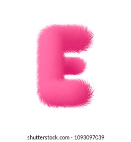 High Quality 3D Shaggy Letter E on White Background . Isolated Vector Element