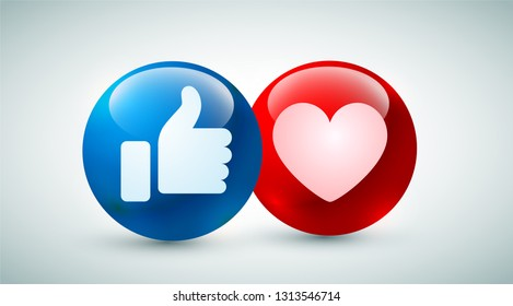 high quality 3d vector round blue  red cartoon bubble emoticons for social media chat comment reactions, icon template like love emoji character message
