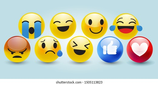 High quality 3d vector round yellow cartoon bubble Emoji emoticons for social media Facebook, Whatsapp, Instagram chat comment reactions, iface tear, smile, sad, love, like, Lol, laughter character