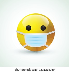 high quality 3d vector round Face with Medical Mask cartoon bubble emoticons for social media chat comment reactions, icon template emoji character Whatsapp Facebook Instagram message