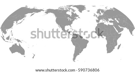 High quality america centric world map stock vector royalty free high quality america centric world map with borders of the countries gumiabroncs Images