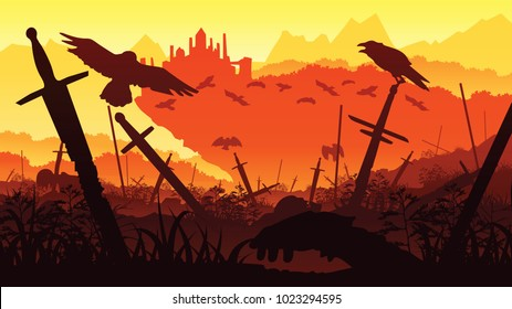 A high quality background of landscape - the outcome of the battle for the castle. Background of swords and crows. Flat style.