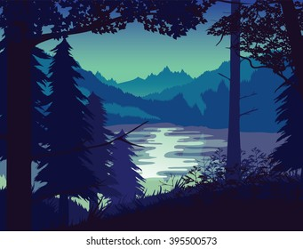 A high quality background of landscape with river, forest and mountains. Sunset on a background of a mountain landscape. Flat style.