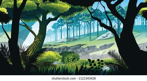A high quality background of landscape with rocks, mountains and forest. Background of a mountain landscape. Horizontal tiles. For use in developing, prototyping  adventure, side-scrolling games.