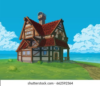 A high quality background - vector rural house. Old European mansion on hill. Summer background with building use for infographics and side-scroller games.