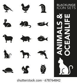 High quality black and white icons of animal, wildlife and sea life. Blacklinge are the best pictogram pack unique design for all dimensions and devices. Vector graphic logo symbol and website content