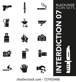 High quality black and white icons of interdiction, sign and symbol. Blacklinge are the best pictogram pack unique design for all dimensions and devices. Vector graphic logo symbol and website content