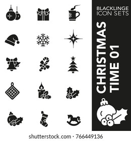 High quality black and white icons of Christmas time, X-mas items. Blacklinge are the best pictogram pack unique design for all dimensions and devices.Vector graphic, logo, symbol and website content.