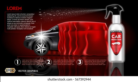 High quality Car Protection Spray package mock up ads. Bottle of carwash soap. 3d Vector realistic vehicle template.