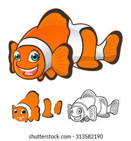 High Quality Common Clown Fish Cartoon Character Include Flat Design and Line Art Version