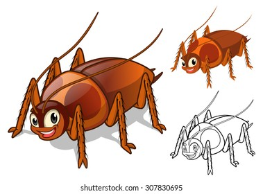 High Quality Detailed Cockroach Cartoon Character with Flat Design and Line Art Black and White Version Vector Illustration