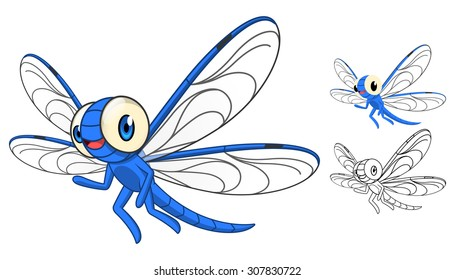 High Quality Detailed Dragonfly Cartoon Character with Flat Design and Line Art Black and White Version Vector Illustration