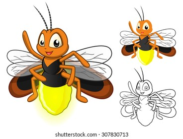 high quality detailed firefly cartoon character with flat design and line  art black and white version