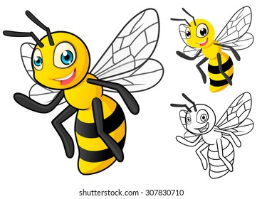High Quality Detailed Honey Bee Cartoon Character with Flat Design and Line Art Black and White Version Vector Illustration