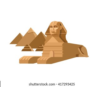High quality, detailed most famous World landmark. Sphinx and pyramids background. Travel vector.