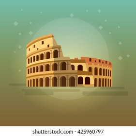 High quality, detailed most famous World landmark. Coliseum in Rome, Italy. Colosseum vector illustration