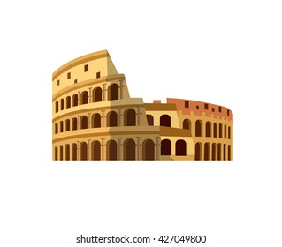 High quality, detailed most famous World landmark. Coliseum in Rome, Italy. Colosseum vector illustration. Travel vector.