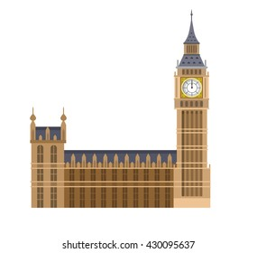 High quality, detailed most famous World landmark. Vector illustration of the Big Ben, the symbol of London and United Kingdom. Travel