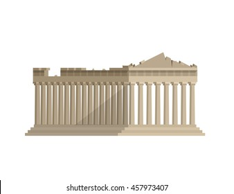 High quality, detailed most famous World landmark. Flat design of parthenon greek illustration vector