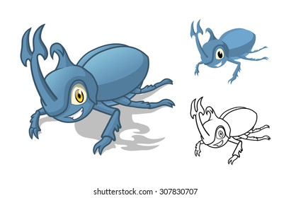 High Quality Detailed Rhino Beetle Cartoon Character with Flat Design and Line Art Black and White Version Vector Illustration