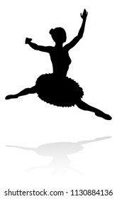 A high quality detailed silhouette of a ballet dancer dancing in a pose or position
